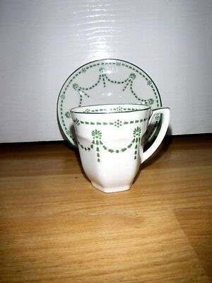 Pretty Little Green & White Swags Cup & Saucer ~ Foley Bone China ~ England