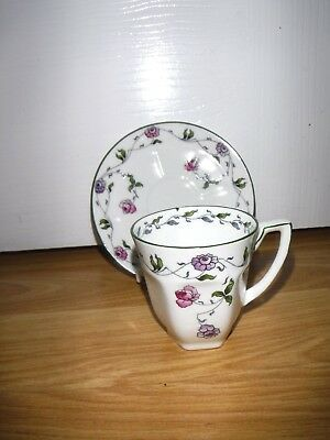 Pretty Little Pink & Purple Floral Cup & Saucer ~ Foley Bone China ~ England