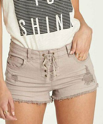 5f330de33f348 WOMENS BILLABONG LITE Hearted Lace Up Denim Shorts Coconut Shell Size 27  NWOT