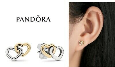 2da790425 Authentic Pandora Real 14K Gold + 925 Silver Heart to heart Stud Earrings  290567