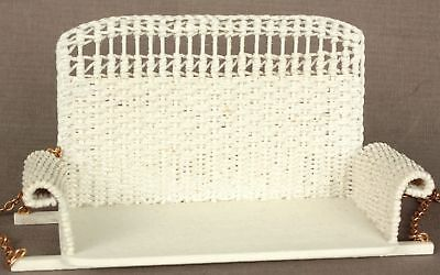 Dollhouse Miniature Handmade White Porch Swing Bronze Chains by McCurley