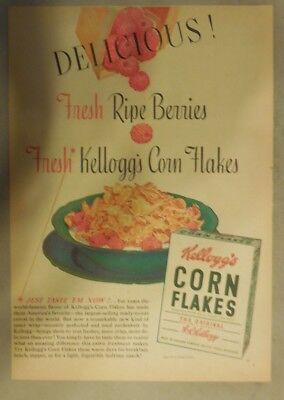 Kellogg's Cereal Ad: Fresh Ripe Berries and Corn Flakes 1939 Size:11 x 15 inches