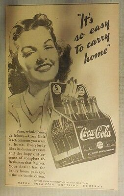 """Coca-Cola ad: """"Easy To Carry Home"""" 1930's ~ 6.5 x 9 inches 1930's"""