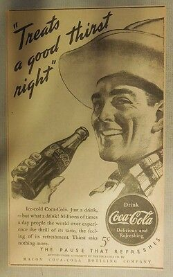 "Coca-Cola ad: ""Treats a Good Thirst Right"" 1930's ~ 6.5 x 9 inches from 1930's"