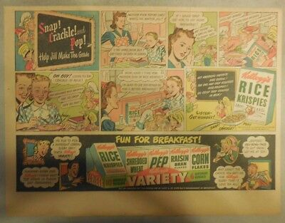 Kellogg's Cereal Ad: Rice Krispies and School! 1940's Size:11 x 15 inches