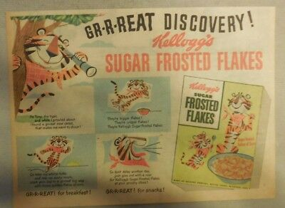 Kellogg's Cereal Ad: Frosted Flakes: Tony The Tiger! 1930's-1950's 7 x 10 inches