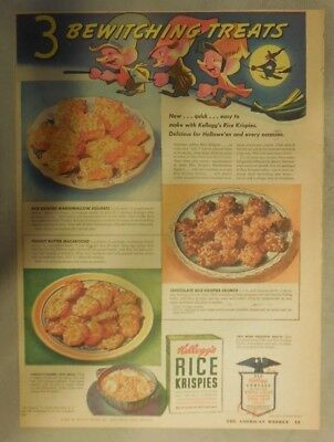 Kellogg's Cereal Ad: Rice Krispies Treats Recipes! 1940's Size:11 x 15 inches