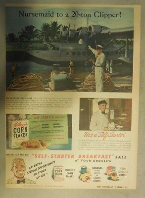 Kellogg's Cereal Ad: The Pan American Clipper! 1940's Size:11 x 15 inches