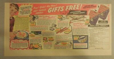 Quaker Cereal Ad: Multiple Premiums Offer ! 1930's 7.5 x 15 inches
