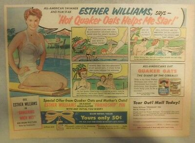 Quaker Cereal Ad: Esther Williams Puffed Wheat Ad ! 1950's 7 x 10 inches