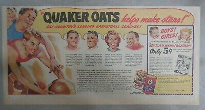 """Quaker Cereal Ad: """"Leading Basketball Coaches! from 1940's Size: 7.5 x 15 inches"""