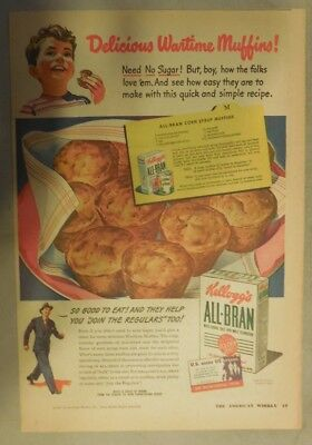 Kellogg's Cereal Ad: Delicious Wartime Muffins! 1940's Size:11 x 15 inches