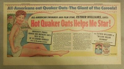 Quaker Cereal Ad: Esther Williams Swimming Star  Actress 1950's 7.5 x 15 inches