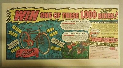 "Wheaties Cereal Ad: ""Columbia Bike Contest"" from 1940's 7.5 x 15 inches"