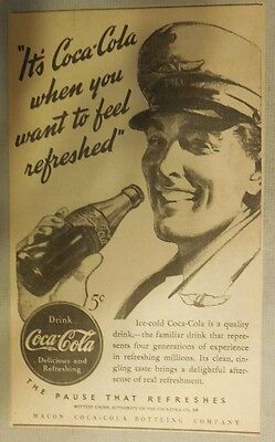 "Coca-Cola ad: ""When You Want to Feel Refreshed"" 1930's ~ 6.5 x 9 inches 1930's"