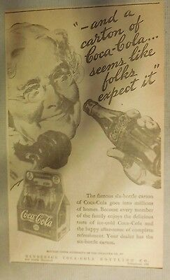 """Coca-Cola ad: """"Seems Like Folks Expect It"""" 1930's ~ 6.5 x 9 inches 1930's"""