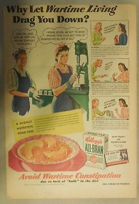 Kellogg's Cereal Ad: Don't Let Wartime Drag You Down! 1940's Size:11 x 15 inches