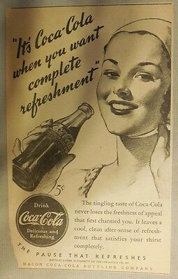 "Coca-Cola ad: ""When You Want Refreshment"" 1930's ~ 6.5 x 9 inches from 1930's"