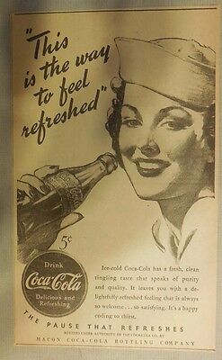 "Coca-Cola ad: ""This is The Way Feel Refreshed"" 1930's ~ 6.5 x 9 inches 1930's"