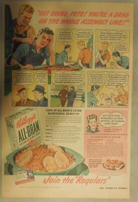 Kellogg's Cereal Ad: Wartime All-Bran Cereal from 1940's Size:11 x 15 inches