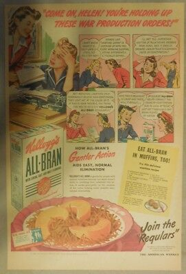 Kellogg's Cereal Ad: Stop Wartime Constipation ! 1940's Size:11 x 15 inches
