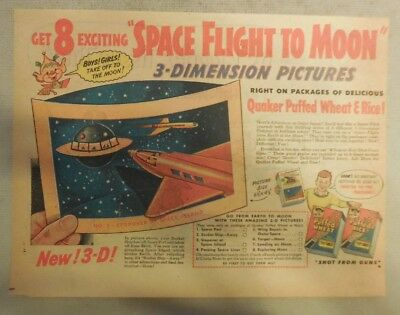 """Quaker Cereal Ad: """"Space Flight To Moon"""" Premium from 1940's 7  x 10 inches"""