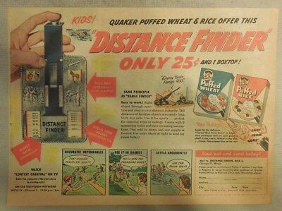 "Quaker Cereal Ad: ""Distance Finder"" Premium from 1940's 7  x 10 inches"