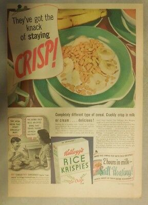 Kellogg's Cereal Ad: Rice Krispies Stay Krisp ! 1939 Size:11 x 15 inches