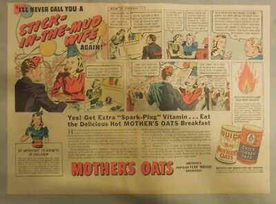 Quaker Cereal Ad: Mother's Oats Stick In The Mud Wife from 1940's 11 x 15 inches