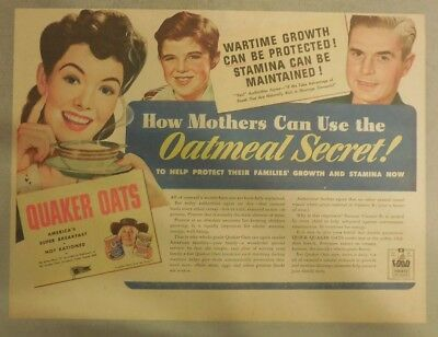 """Quaker Cereal Ad: """"Mothers Oatmeal Secret!"""" from 1930's Size: 11 x 15 inches"""