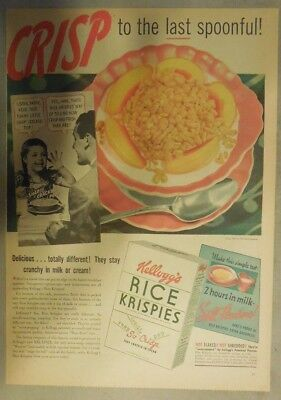 Kellogg's Cereal Ad: Snap Crackle Pop! 1940's Size:11 x 15 inches