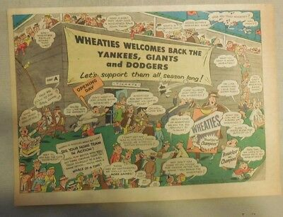 Wheaties Cereal Ad: Yankees, Giants and Dodgers from 1950's 7 x 10 inches