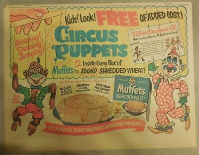 "Quaker Cereal Ad: ""Circus Puppets"" Premium from 1950's Size: 11 x 15 inches"