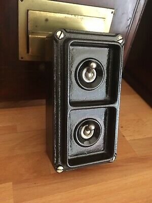 Britmac  Vintage Industrial  2 Gang  Light Switch Perfect circa 1940