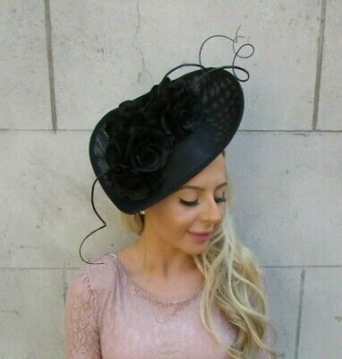 Large Black Flower Feather Teardrop Fascinator Hat Headband Races Wedding 7193