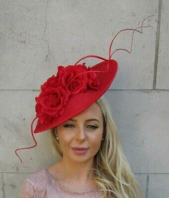 Large Red Rose Flower Feather Teardrop Fascinator Hat Headband Races Hair 7194