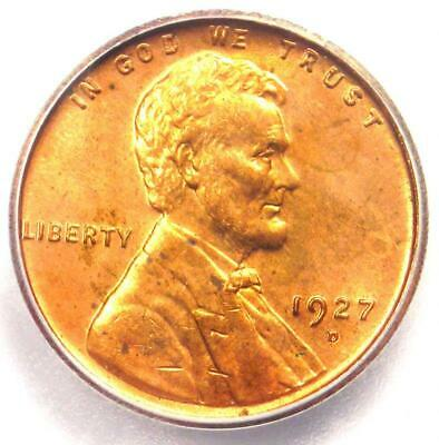1927-D Lincoln Wheat Cent Penny 1C - Certified ICG MS63 RD (BU UNC) - Rare Date!