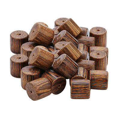 40pcs Pine Wood Tube Bead DIY Jewelry Making Sewing Crafts Decor 10x10mm