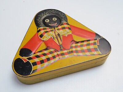 Vintage 1930-1940's Black Red Yellow Triangular Tin - SCARCE