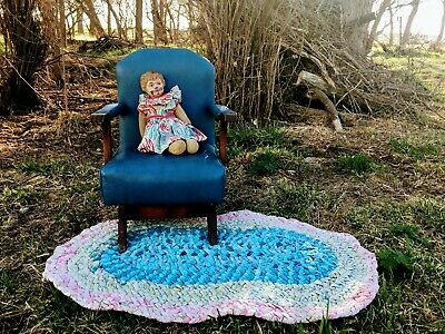 Vintage Mid Century Children's Upholstered Rocker Rocking Chair Blue Claw foot