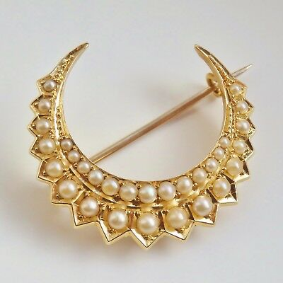 Stunning Antique Victorian 18ct Gold Pearl set Crescent Brooch c1895