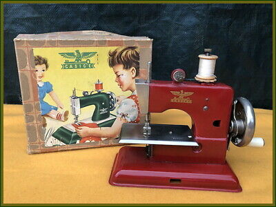 Antique Casige Model 241/1 ~Fire Engine Red~ Mini Toy Hand Crank Sewing Machine