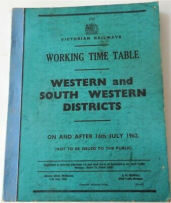 Victorian Railway Time Table
