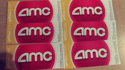 2 AMC Yellow Movie Ticket - Not Valid in CA, NY, NJ - Hard Copy - No Expiration
