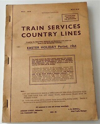Victorian Railway Country Lines Time Table