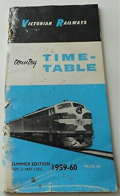 Victorian Railway Country Time Table