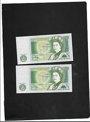 x2 Consecutive England English Page One Pound £1  Banknotes - #06A 675054/5