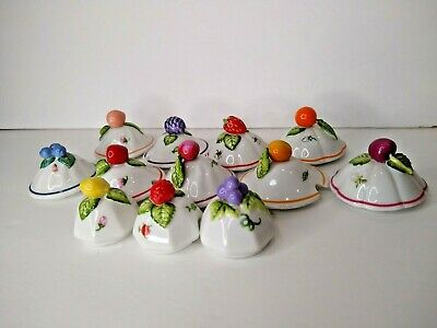 Lenox ORCHARD GIFTWARE Jam Jelly LIDS ONLY Replacement parts vtg Fruits