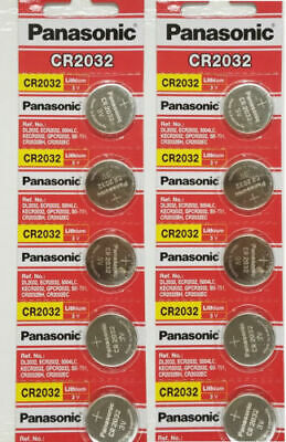 10 PANASONIC CR2032 2032 3V Lithium Coin Battery Expiration date 2028