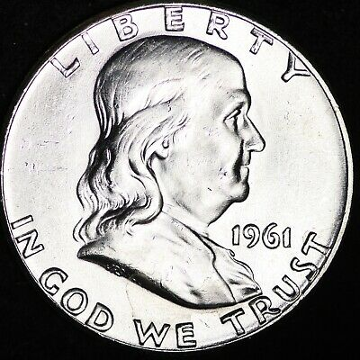 GEM UNCIRCULATED NICE BELL LINES 1961 Franklin Silver Half Dollar FREE SHIPPING
